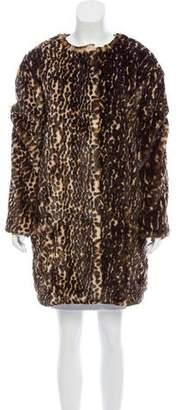 Nina Ricci Leopard Print Faux Fur Coat