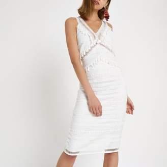 River Island Womens White lace tassel midi dress