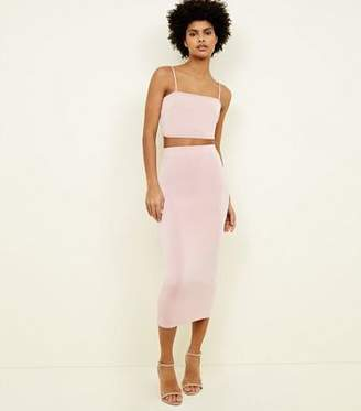New Look Pale Pink Bodycon Midi Skirt