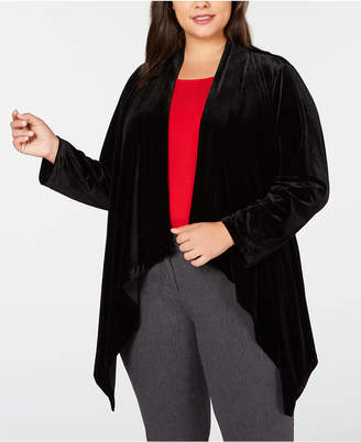 Calvin Klein Plus Size Velvet Draped Jacket