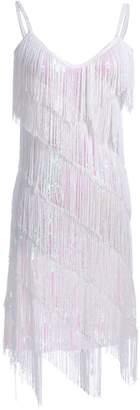 Anna-Kaci Womens Fringe Sequin Strap Backless 1920s Flapper Party Mini Dress