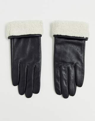 Asos Design DESIGN leather gloves with touch screen and borg trim in black