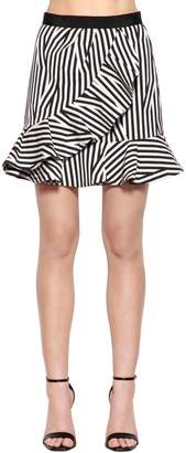 Self-Portrait Ruffled Striped Cotton Skirt