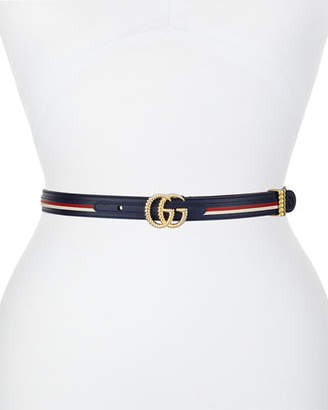Gucci Multicolored Leather Belt w/ Textured GG Buckle