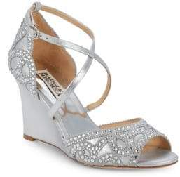 Badgley Mischka Embellished Wedge Evening Shoes