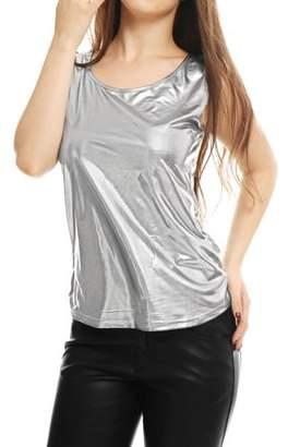 Unique Bargains Lady Sleeveless U Neck Fashion Metallic Tank Top Gold L