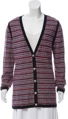 Chanel Striped V-Neck Cardigan