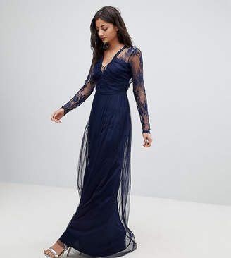 Asos Tall Lace Maxi Dress With Long Sleeves