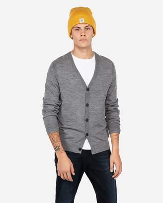 Express Merino Wool-Blend Thermal Regulating V-Neck Cardigan