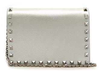 31d12c20265e Valentino Rockstud Metallic Grained Leather Clutch - Womens - Silver
