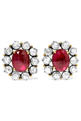 Amrapali 18-karat Gold, Sterling Silver, Ruby And Diamond Earrings - Anthracite
