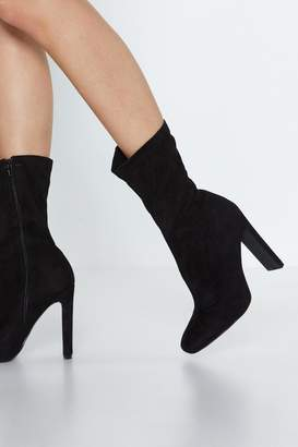 Nasty Gal Faux Suede Life High Ankle Boot