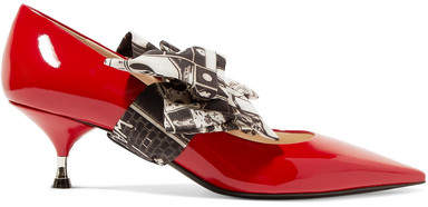 Prada - Printed Georgette-trimmed Patent-leather Pumps - Red