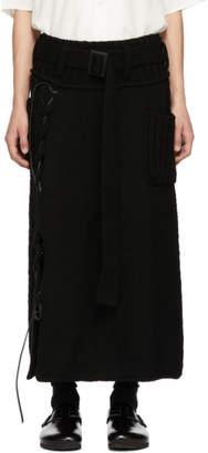 Yohji Yamamoto Black Leather String Skirt