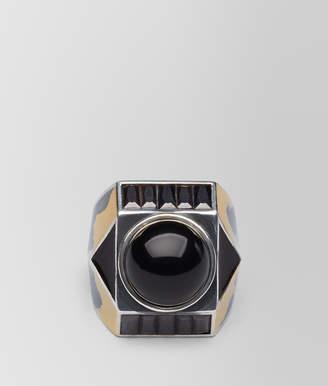 Bottega Veneta ONYX/SILVER/ENAMEL RING
