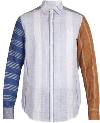Loewe Patchwork Striped Shirt - Mens - Blue