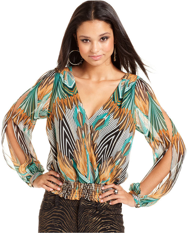 Baby Phat Juniors Top, Long Sleeve Printed Blouson