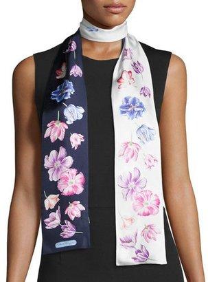 Salvatore Ferragamo Tuli Skinny Floral Silk Scarf, Marine $170 thestylecure.com