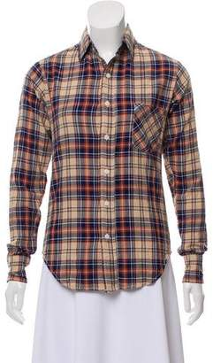 R 13 Tartan Button-Up Top