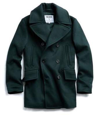 Todd Snyder + Private White V.C. Private White + Naval Peacoat in Hunter Green