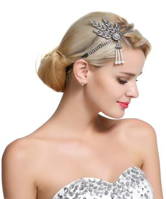 FAIRY COUPLE 1920s Gatsby Wedding Crystal Imitation Pearl Leaf Headband