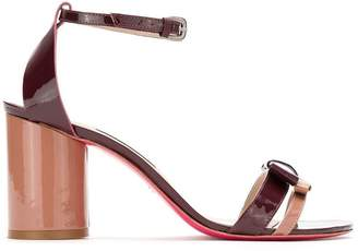Zeferino block heel patent leather sandals
