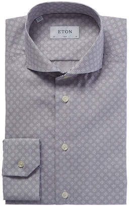 Eton Slim Fit Micro Pattern Dress Shirt