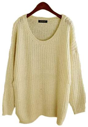 Off-White ARJOSA Women's Cable Knit Oversized Crewneck Casual Pullovers Sweaters Tops (M/L, 6