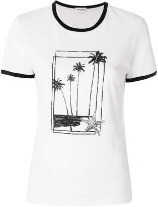 Saint Laurent Palm Tree Print T shirt