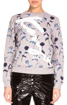 Kenzo Dandelion Crewneck Pullover Sweatshirt, Pale Gray $310 thestylecure.com