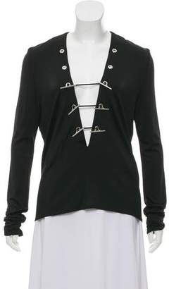 Thierry Mugler Long Sleeve Embellished Top