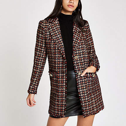 Womens Red check boucle double breast jacket