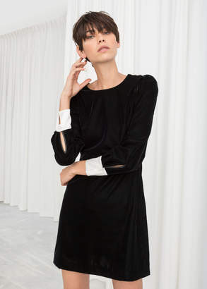 And other stories Velvet Pearl Button Mini Dress