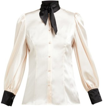 Edeltrud Hofmann - Nico Tie Neck Silk Charmeuse Blouse - Womens - Light Pink