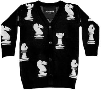 Amour Bows Chess Print Cardigan