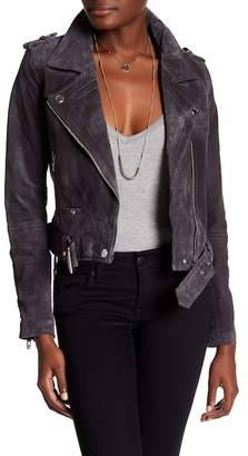 BLANKNYC Denim Genuine Suede Leather Front Zip Jacket $198 thestylecure.com
