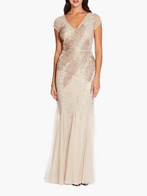 ba7e979ddbb Adrianna Papell Feather Print Beaded Long Dress