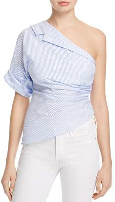 PETERSYN Leah One-Shoulder Striped Top $243 thestylecure.com