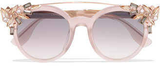 Jimmy Choo - Vivy/s Round-frame Embellished Acetate And Gold-tone Sunglasses - Pink $595 thestylecure.com