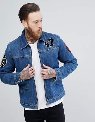 Wrangler Hawkins Mid Stone Borg Lined Denim Jacket