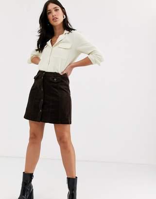 Vero Moda cord mini skirt in chocolate