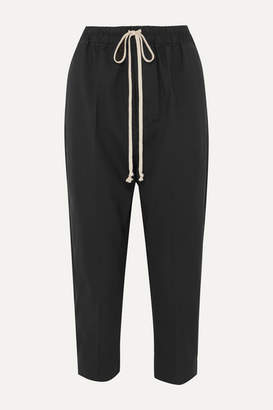 Rick Owens Cropped Cotton-trimmed Wool-blend Track Pants