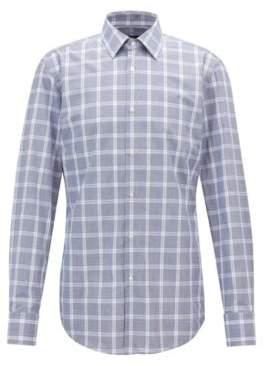 BOSS Hugo Slim-fit shirt in washed Glen-check cotton poplin 15 Open Blue