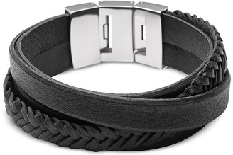 Fossil Black Braided and Smooth Leather Men's Wrap Bracelet