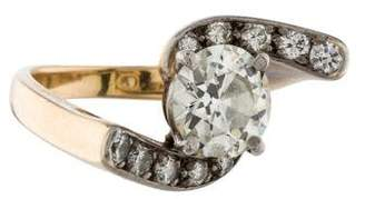 Ring 14k Diamond Solitaire Curved Diamond