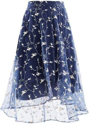 PAISIE - Midi Skirt with Embroidered Floral Tulle Overlay & Dip Hem