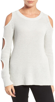 Trouve Cutout Sleeve Cotton Sweater $89 thestylecure.com