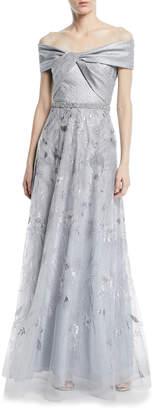 Rickie Freeman For Teri Jon Jacquard Portrait Off-the-Shoulder Lace Gown
