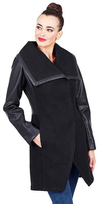 Betsey JohnsonBasketweave Wool Coat With Faux Leather Sleeves