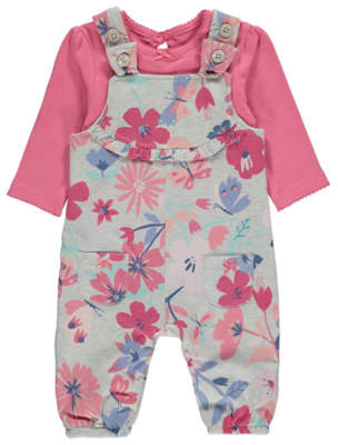 George Floral Print Dungarees and Bodysuit Outfit